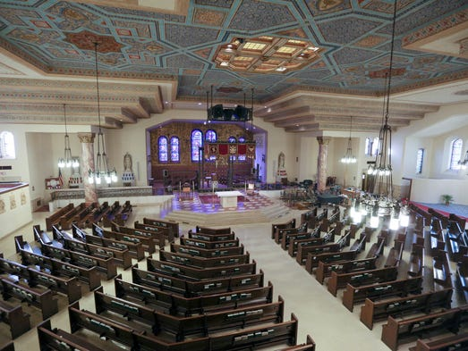 The sanctuary at Gesu Catholic Church in Detroit on