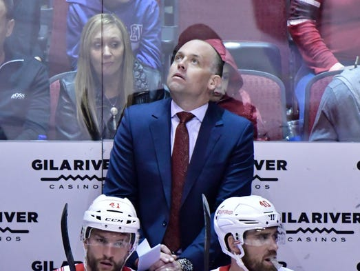 ODetroit Red Wings head coach Jeff Blashill looks on