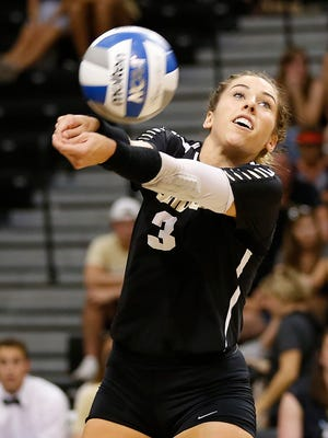Brooke Peters of Purdue with a dig against Northwestern in the third set Wednesday, September 20, 2017, at Holloway Gymnasium on the campus of Purdue University. Purdue swept Northwestern 25-18, 25-20, 25-18.
