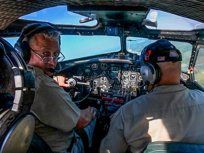 The B-17G bomber Aluminum Overcast gives media orientation