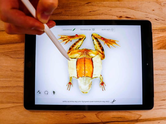 Demonstration of the Froggipedia App using the Apple Pencil on the new 9.7-inch iPad at an Apple's education-focused event at Lane Technical College Preparatory High School on March 27, 2018. Photo by Rodney White, Gannett