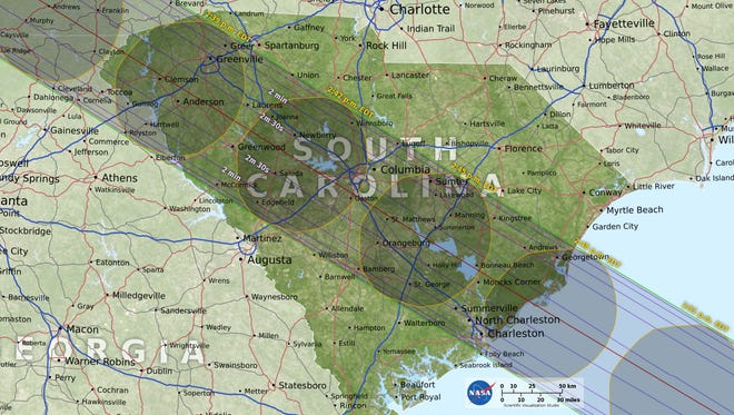 A total solar eclipse will be visible across upstate South Carolina on Aug. 21. It will last about 2.5 minutes, and southern Pickens County is expected to be the optimal spot to watch it.