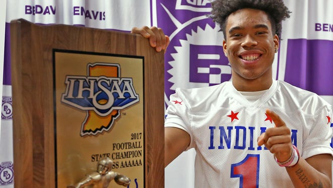 Ben Davis quarterback Reese Taylor smiles for a photo after being surprised with the announcement that he had been chosen for the 2017 Mr. Football honor, Tuesday, Dec. 5, 2017.