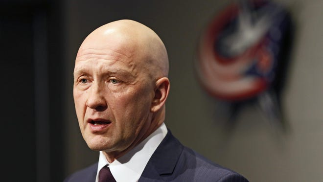Columbus Blue Jackets general manager Jarmo Kekalainen addresses the media about the trades that brought Ian Cole, Thomas Vanek and Mark Letestu to Columbus prior to the NHL hockey game against the Washington Capitals at Nationwide Arena in Columbus on Feb. 26, 2018.