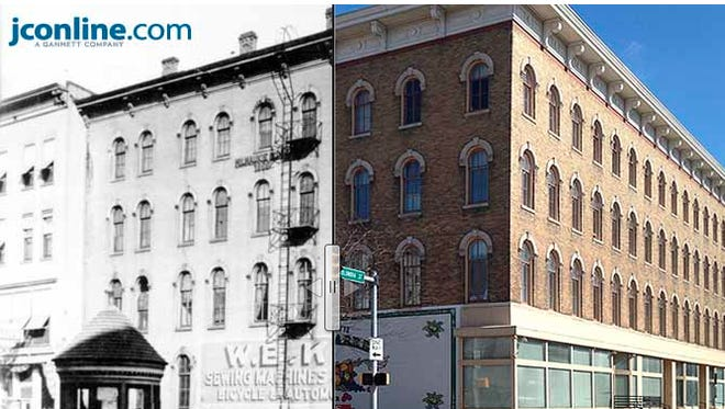 The King Sewing Machine and Bicycle Co., 502 Columbia St., circa 1915 compared to 2014.