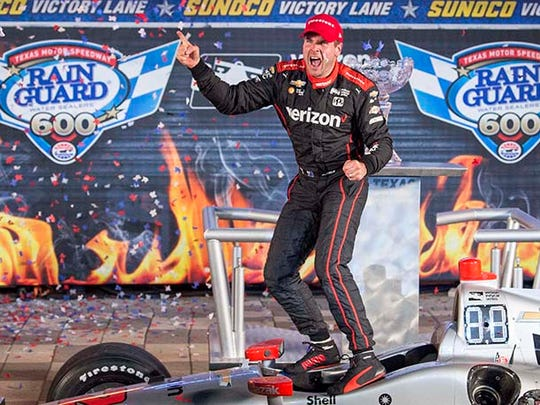 Verizon IndyCar Series driver Will Power (12) celebrates winning the Rainguard Water Sealers 600 at Texas Motor Speedway.