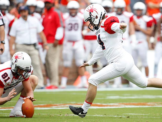 Richmond Spiders place-kicker Griffin Trau is from Culver, Ind.