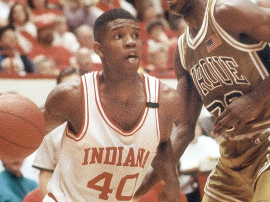 Indiana University's Calbert Cheaney (40) will be inducted into the National Collegiate Basketball Hall of Fame.
