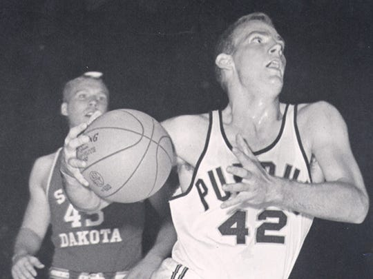 Former Purdue All-American Dave Schellhase drives to the basket against South Dakota in a mid-1960s game at Lambert Fieldhouse.