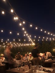 Lights on the deck make for an appealing experience at Bistro Di Marino in Collingswood.