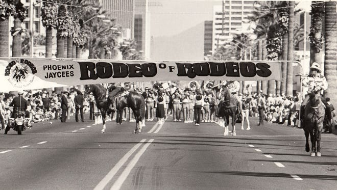 The Phoenix Jaycees Rodeo of Rodeos parade in 1984 in Phoenix