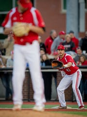Louisville Cardinal infielder Logan Wyatt (43) during