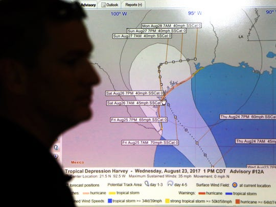 Before Harvey became a hurricane, officials kept an eye on it. Emergency managers met Aug. 23, 2017, to talk about the tropical depression in the gulf.