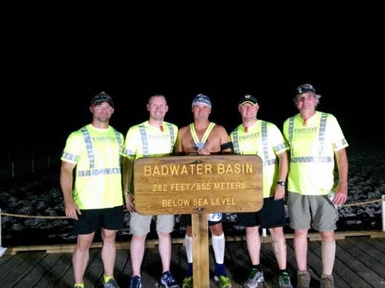 Brett Sobieraski, center, and his four-member crew just before he set off on a 135-mile footrace through Death Valley. He finished in 34 hours and 22 minutes.