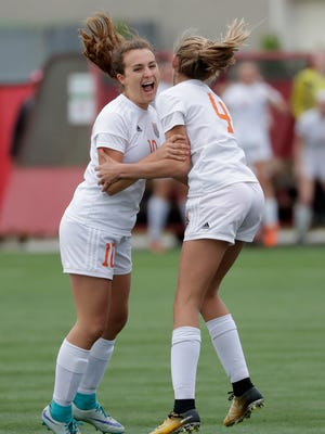 Cedar Grove-Belgium High School's Amy TenHaken (10) celebrates scoring a goal in the first half with teammate Kirstin Oszuscik (4) against Heights/Barneveld High School during their WIAA Division 4 Semifinal girls state soccer game Friday, June 15, 2018, at Uihlein Soccer Park in Milwaukee, Wis.