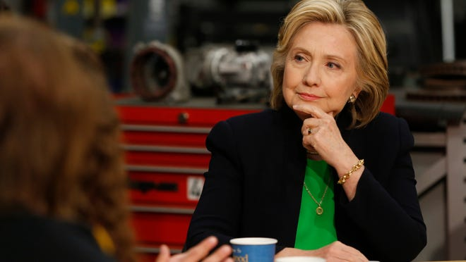 Democrat Hillary Clinton listens to students and educators Tuesday, April 14, 2015 during a roundtable discussion at Kirkwood Community College's satellite campus in Monticello.