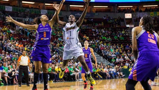 Willingboro native Crystal Langhorne of the Seattle Storm goes up for a basket.