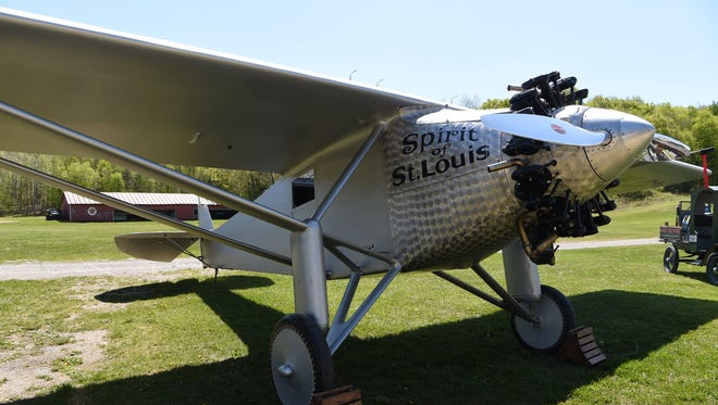A replica of the Spirit of St. Louis at the Old Rhinebeck Aerodrome in Red Hook, the plane Charles Lindbergh flew in the first nonstop solo flight across the Atlantic Ocean in 1927.