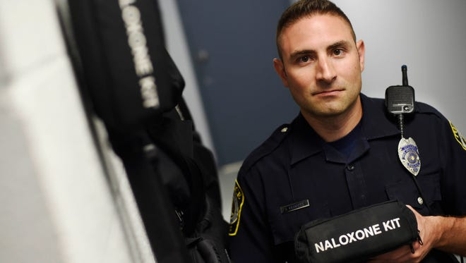 York Area Regional patrol officer Josh Crimmel holds a naloxone kit. In 2016, York Area Regional police officers saved 15 people using the antidote that can reverse an opioid overdose. But tracking the amount of saves beyond police departments is difficult. Hospitals, recovery homes, firefighters, schools all carry naloxone in York County as officials continue to addressing a growing heroin epidemic.
