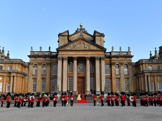 The Great Court of Blenheim Palace as Coldstream, Scots, Irish and Welsh Guards play in ceremonial welcome for President Trump and first lady Melania Trump before a black-tie dinner with business leaders at the palace west of London, on July 12, 2018.