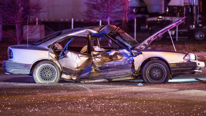 The passenger in this Oldsmobile was killed after a Jeep t-boned the car at the intersection of West Morris and South West streets Tuesday night.