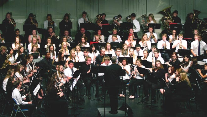 """Lakeland College's concert band teamed up with Kohler High School's band and a combined ensemble of the musicians brought down the house with a rendition of the well-known hit """"The Washington Post."""""""