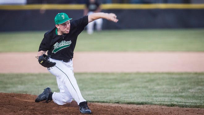 Yorktown's Sullivan Swingley pitches against Blackford during their game at Yorktown High School Wednesday, May 23, 2018.