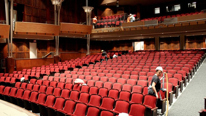 While technicians continue their work on the stage of the College-Conservatory of Music's Corbett Auditorium, cleaning crews have already moved into the hall to clean the all-new seats and do final preparation for audiences. The first performance in the renovated hall takes place Monday, Nov. 20.