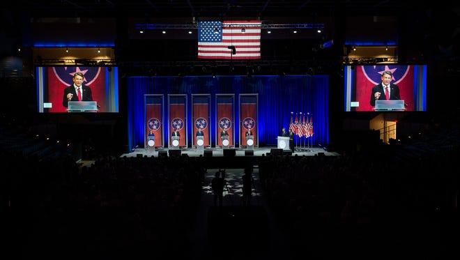 Republican Randy Boyd speaks during the Gubernatorial Forum on Education at Belmont University in Nashville, Tenn., Tuesday, Jan. 23, 2018.