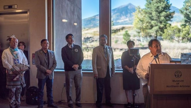 U.S. Rep. Raul Grijalva, D-Ariz., talks about his bill to create a national monument around the Grand Canyon. He stands with tribal members.