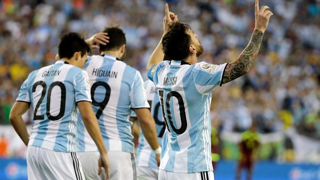 Argentina's Lionel Messi celebrates his goal during the second half of a Copa America Centenario quarterfinal soccer match against Venezuela on Saturday in Foxborough, Mass. Argentina won 4-1 to advance to a semifinal against host United States.