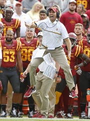 Iowa State head coach Matt Campbell yells to his defenders