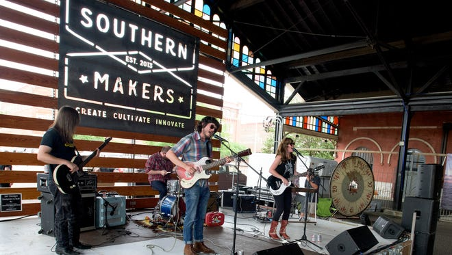 The band Dead Fingers performs at the Southern Makers event held at the Union Station Train Shed in Montgomery, Ala., on Saturday April 30, 2016.