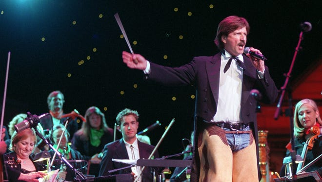 Former Reno Philharmonic Conductor Barry Jekowskyis shown speaking at the 2007 Rhythm and Rawhide concert at the Reno Hilton.