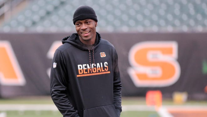 Bengals wide receiver A.J. Green warmed up prior to the game against Pittsburgh but is inactive for the fourth straight game.