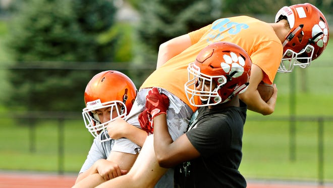 Central York football players work out during the PIAA heat acclimatization period in 2017. The 2020 heat acclimatization period is set to begin on Aug. 10.