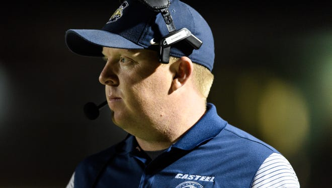 Casteel's head coach Spencer Stowers on the sideline of their AIA Div 3A semifinal high school football game on Saturday, Nov. 18, 2017, at Campo Verde High School in Gilbert, Ariz.