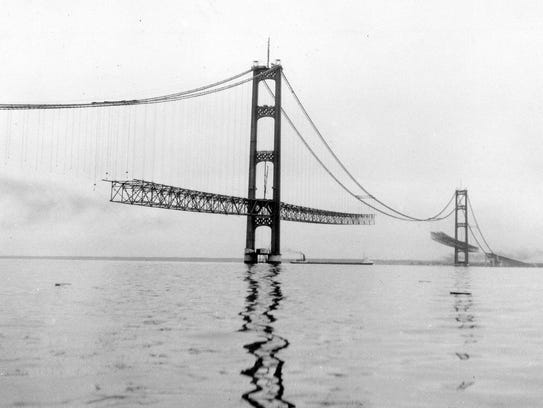 Mackinac Bridge being built in 1957