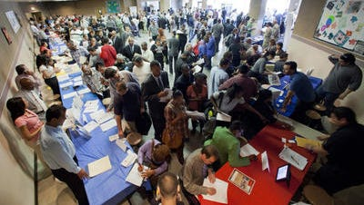 File: People in line at Job Fair