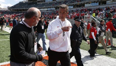 Urban Meyer, shown here at the OSU spring game at Paul Brown Stadium in 2013.
