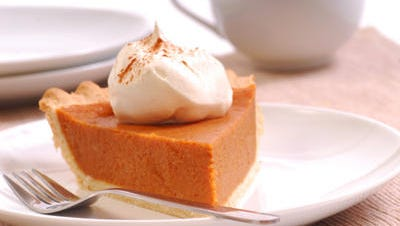 Pumpkin pie with real whipped cream
