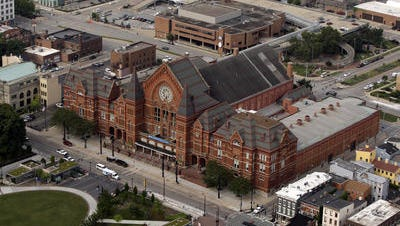 An aerial view of Music Hall in Over-the-Rhine. Music Hall's resident arts groups are willing to implement a user fee to help pay for critical renovations to the 136-year-old landmark.