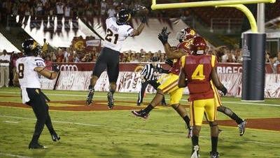 ASU's Jaelen Strong catches the Hail Mary pass from Mike Bercovici