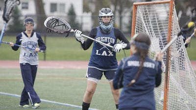Lauren Smolensky, right, and goalie Sara Tulio are two of the senior leaders for Brighton, ranked 16th nationally.