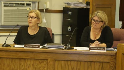 Sleepy Hollow Trustees Evelyn Stupel, left, and Karin Wompa during an Aug. 12 board meeting. They are among the village board majority who voted against Greg Lobato for a police job.