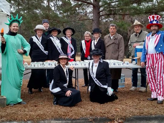 Members of the League of Women Voters at the Tallahassee Marathon