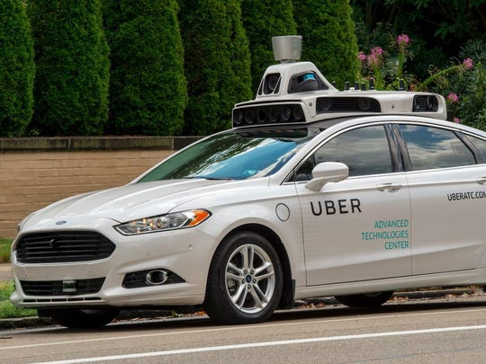 An Uber self-driving car in Pittsburgh.