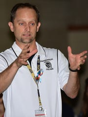 Drew Nelson, Fayetteville Elementary School, principal,  leads discussion during active shooter training on Wednesday, August 16, 2017. Chambersburg Area School District is doing active shooter training sessions for its faculty. The school adopted the Alert, Lockdown, Inform, Counter Evacuate (ALICE) method for all employees.