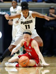 Dominique Oden of Purdue pressures Jasmin Samz of Ball State Monday, December 4, 2017, at Mackey Arena. Ball State defeated Purdue 66-60.
