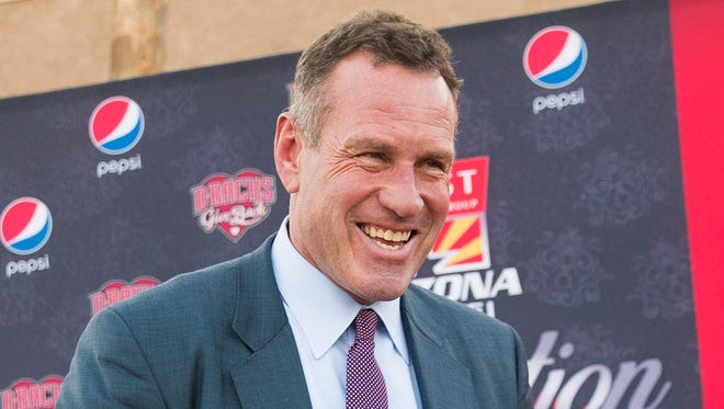 Dan Majerle, former Phoenix Suns player and current Grand Canyon University head basketball coach, arrives on the red carpet before induction ceremonies for the Arizona Sports Hall of Fame at the Scottsdale Plaza Resort November 1, 2017.